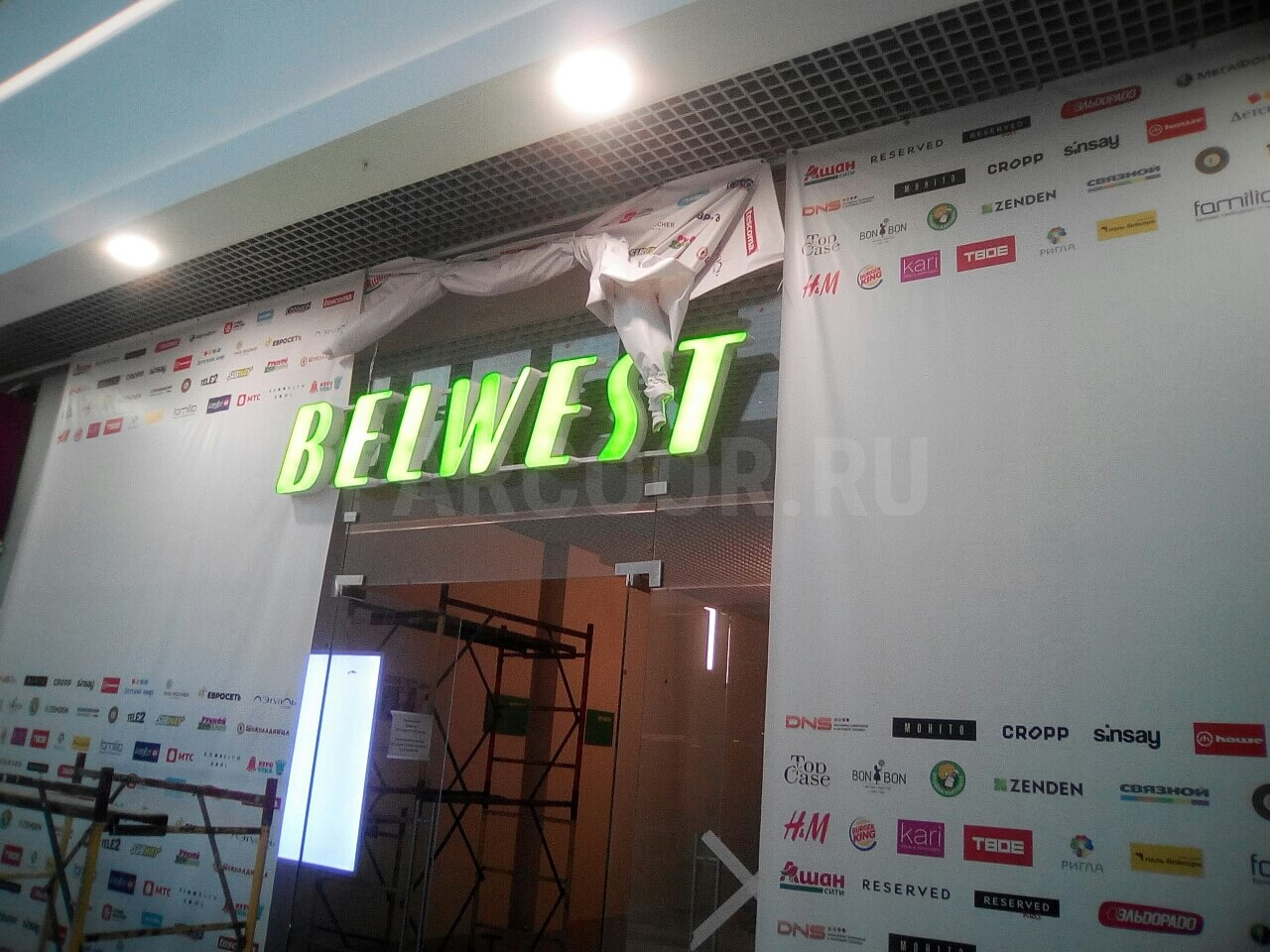 Объемные световые буквы на металлокаркасе BELWEST